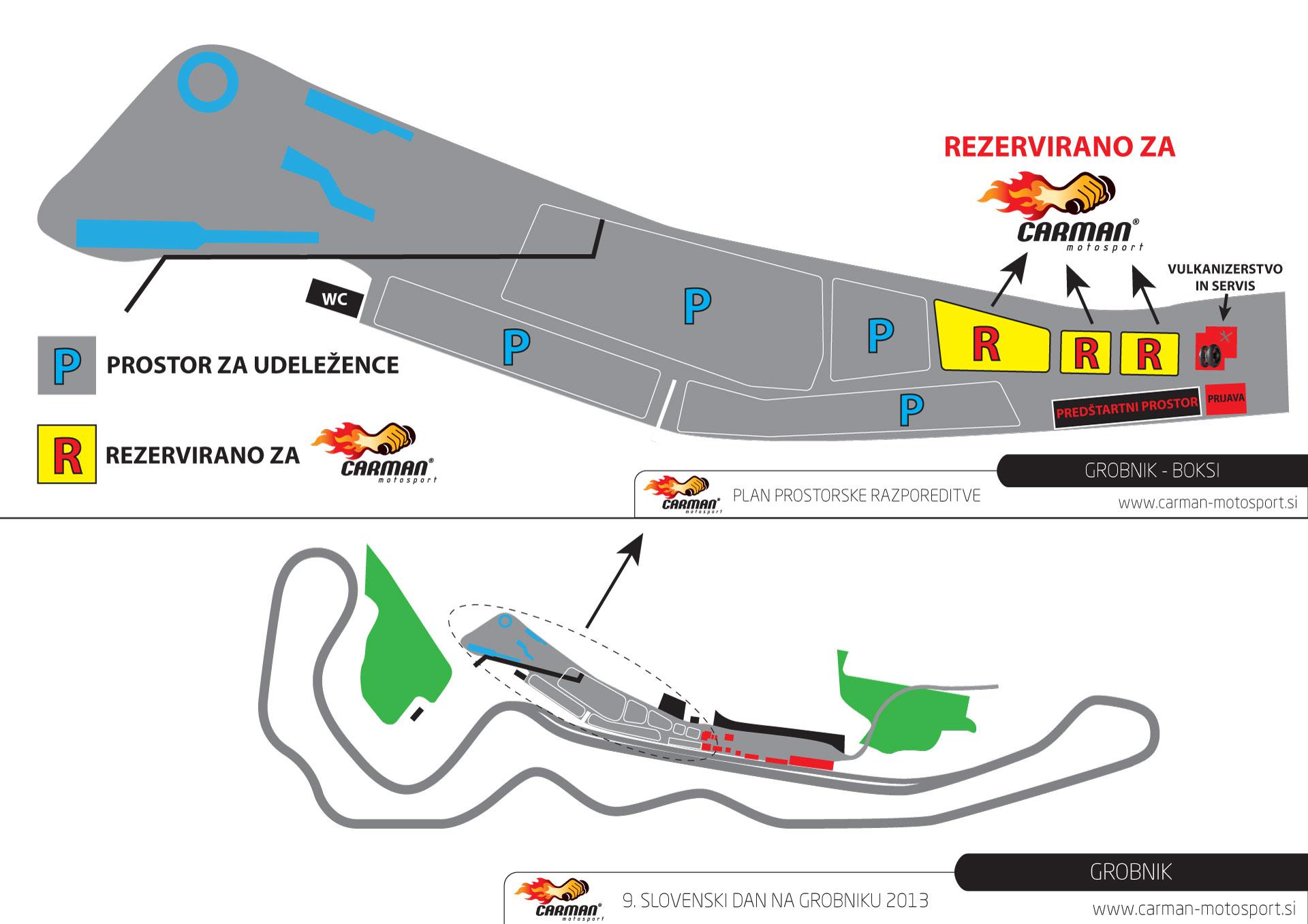 Rezerviran prostor v boksih za razstavljalce Čarman Motosport